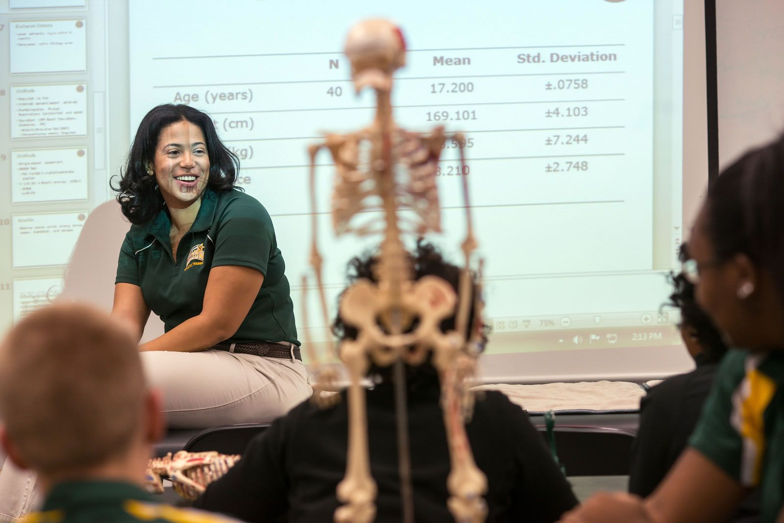 Dr. Candace Parham in athletic training classroom