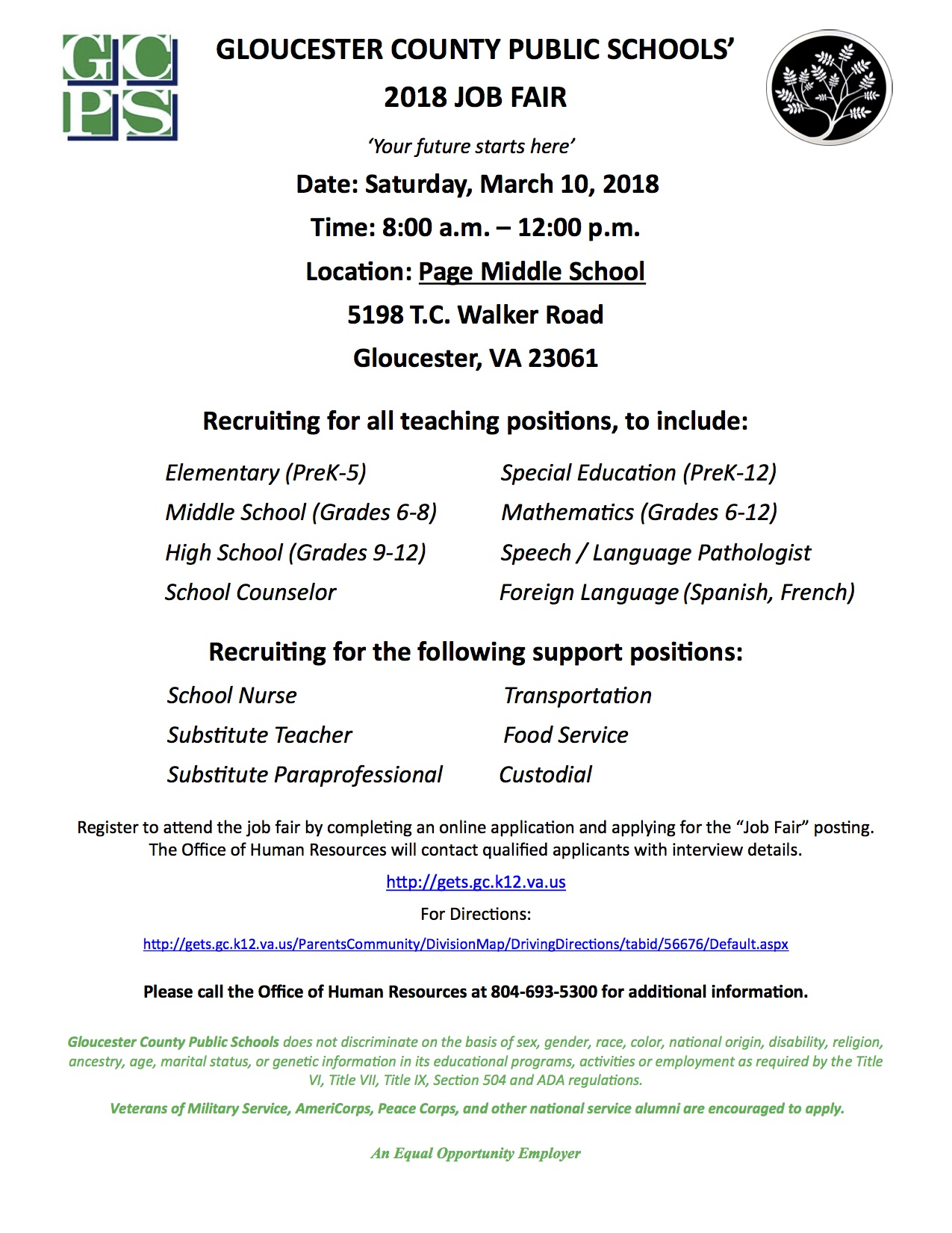 GLOUCESTER COUNTY PUBLIC SCHOOLS' 2018 JOB FAIR